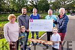 The Healy family from Tralee present a cheque in the amount of €1,850.00 to Comfort for Chemo in memory of their sister, the late Mary Healy Riordan who passed away last February. <br /> Front l to r: Rory and Anna O'Sullivan. Back l to r: Noreen Crean, Mikey Sheehy (Comfort for Chemo), Mike, Dan and Stephen Healy.