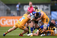 31st August 2020; Recreation Ground, Bath, Somerset, England; English Premiership Rugby, Bath versus Wasps; Tom West and Jack Willis of Wasps tackle Ben Spencer of Bath