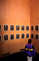 Tourist at the  Baseball Hall of Fame, Cooperstown, New York