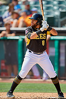 Jose Rojas (8) of the Salt Lake Bees bats against the Albuquerque Isotopes at Smith's Ballpark on April 28, 2019 in Salt Lake City, Utah. The Bees defeated the Isotopes 14-8. (Stephen Smith/Four Seam Images)