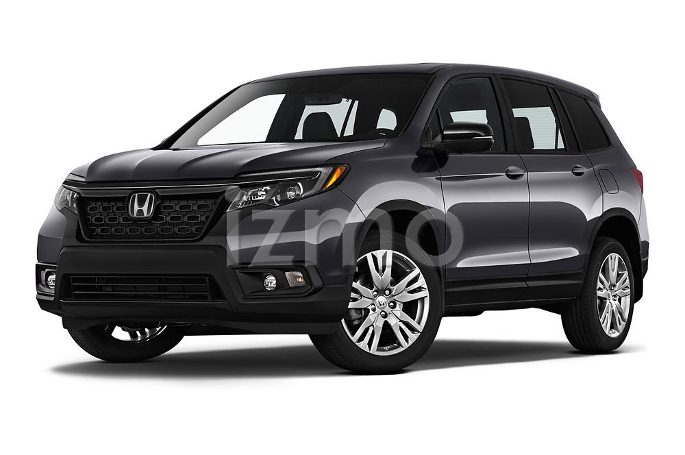 Stock pictures of low aggressive front three quarter view of 2019 Honda Passport EX-L 5 Door SUV Low Aggressive