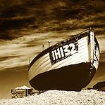 Inshore fishing boat on beach, Dunwich, Suffolk