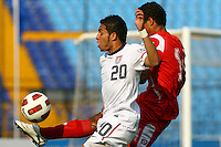 Eder Arreola (left) on the play. USA Men's Under 20 defeated Panama 2-0 at Estadio Mateo Flores in Guatemala City, Guatemala on April 2nd, 2011.