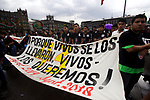 Mexican protestors stage a demonstration on the main Mexico City's thoroughfares September 26, 2018. Thousands of people along with the fathers of the 43 disappeared students demanded justice and the appearance of the 43 on the 4th anniversary of their disappearance . Photo by Heriberto Rodriguez