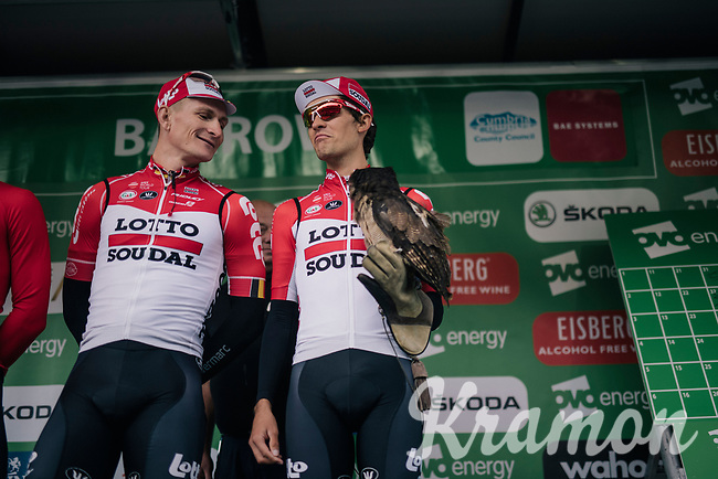 André Greipel (DEU/Lotto-Soudal) and teammate/falconer James Shaw (GBR/Lotto-Soudal) at the pre race team presentation<br /> <br /> Stage 6: Barrow-in-Furness to Whinlatter Pass   (168km)<br /> 15th Ovo Energy Tour of Britain 2018
