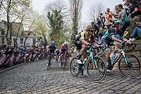 Wout Van Aert (BEL/Jumbo-Visma) next to Daniel OSS (ITA/BORA-Hansgrohe) up the infamous Kapelmuur /Muur van Geraardsbergen<br /> <br /> 103rd Ronde van Vlaanderen 2019<br /> One day race from Antwerp to Oudenaarde (BEL/270km)<br /> <br /> ©kramon