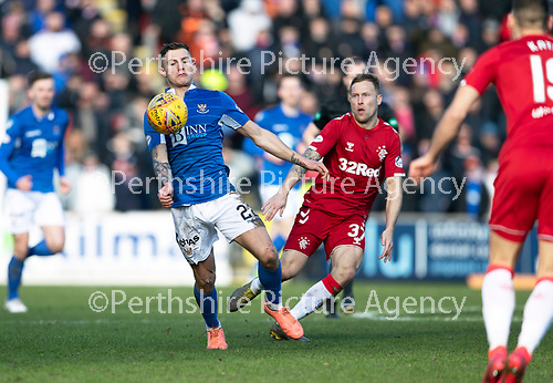St Johnstone v Rangers…..23.02.20   McDiarmid Park   SPFL<br />Callum Hendry and Scott Arfield<br />Picture by Graeme Hart.<br />Copyright Perthshire Picture Agency<br />Tel: 01738 623350  Mobile: 07990 594431