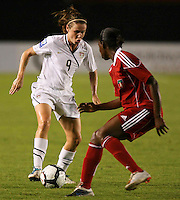 Action photo of Heather O'Reilly of United States. The US Women's National Team defeated Haiti 5-0 during the CONCACAF Women's World Cup Qualifying tournament at Estadio Quintana Roo in Cancun, Mexico on October 28th, 2010.
