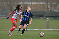 Esther Buabadi (24) of Zulte-Waregem and Elle Decorte (7) of Club Brugge  pictured during a female soccer game between SV Zulte - Waregem and Club Brugge YLA on the 13 th matchday of the 2020 - 2021 season of Belgian Scooore Womens Super League , saturday 6 th of February 2021  in Zulte , Belgium . PHOTO SPORTPIX.BE | SPP | DIRK VUYLSTEKE
