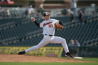 Oregon State Beavers starting pitcher Kevin Abel (23) pitches during a game against the New Mexico Lobos on February 15, 2019 at Surprise Stadium in Surprise, Arizona. Oregon State defeated New Mexico 6-5. (Zachary Lucy/Four Seam Images)