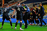 28th August 2021; Weston Homes Stadium, Peterborough, Cambridgeshire, England; EFL Championship football, Peterborough United versus West Bromwich Albion; Dara O'Shea of West Bromwich Albion pushes over a steward during celebrations for their winning goal after 95 minutes