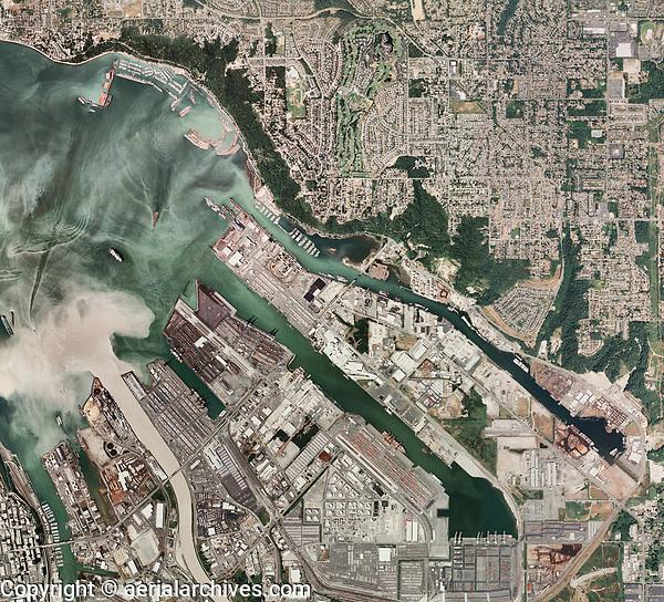 aerial photo map of Tacoma Harbor,  Washington