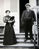 BNPS.co.uk (01202 558833)<br /> Pic: RaynoldPatenotte/BNPS<br /> <br /> Pictured: Frenchman M. Poulain and Madame Poulain who ran the hotel from 1899.<br /> <br /> Over 6,200 letters of objection have been lodged against controversial plans to replace a historic hotel with a 'soulless' block of flats at a millionaire's playground.<br /> <br /> The well-heeled residents of Sandbanks are up in arms about the £250million development which would see the Haven Hotel at the entrance to Poole Harbour in Dorset bulldozed.<br /> <br /> The 141-year-old building is where engineer Guglielmo Marconi established the world's first wireless communications. Under the plans, it would be replaced with a six-storey block of 119 luxury apartments.
