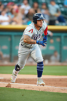 Oswaldo Arcia (31) of the Reno Aces hustles to first base against the Salt Lake Bees in Pacific Coast League action at Smith's Ballpark on June 15, 2017 in Salt Lake City, Utah. The Aces defeated the Bees 13-5. (Stephen Smith/Four Seam Images)