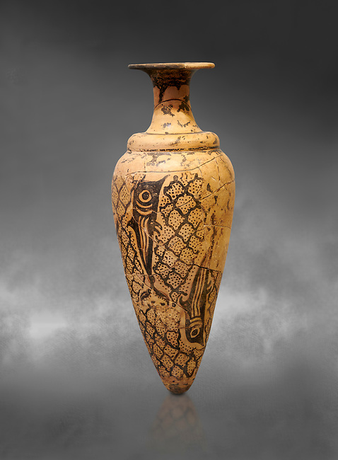 Minoan conical rhython decorated with dolphins against a net pattern , Special Palatial Tradition, Pseira  1500-1400 BC BC, Heraklion Archaeological  Museum, grey background.