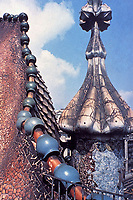 Casa Batallo--a closer look at intricate details of roof and metal work by Antoni Gaudi. Art Nouveau. Barcelona, Spain.