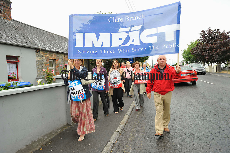 Workers pictured outside Ennis Hospital during an IMPACT Trade Uunion Health Section protest about cuts in the Health service throughout Clare.  Photograph by John Kelly.