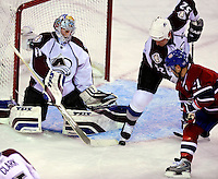 15 October 2009: Colorado Avalanche goaltender Craig Anderson makes a first period save against the Montreal Canadiens at the Bell Centre in Montreal, Quebec, Canada. The Avalanche defeated the Canadiens 3-2 in the home opening game for the Habs. Mandatory Credit: Ed Wolfstein Photo