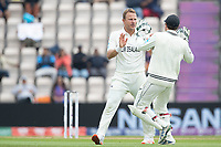 BJ Watling quick to congratulate Neil Wagner, New Zealand following the dismissal of Ajinkya Rahane, India during India vs New Zealand, ICC World Test Championship Final Cricket at The Hampshire Bowl on 20th June 2021