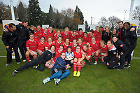 The Canada team pose for a group photo with Pearl Marshall (match ball deliverer) after the 2017 International Women's Rugby Series rugby match between Canada and Australia Wallaroos at Smallbone Park in Rotorua, New Zealand on Saturday, 17 June 2017. Photo: Dave Lintott / lintottphoto.co.nz