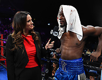 ONTARIO, CA - DECEMBER 21: Heidi Androl interviews Tony Harrison after he was defeated by Jermell Charlo on the Fox Sports PBC Fight Night at Toyota Arena on December 21, 2019 in Ontario, California. (Photo by Frank Micelotta/Fox Sports/PictureGroup)