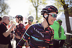 Pauline Ferrand Prevot (FRA) Canyon-Sram Racing at sign on before La Fleche Wallonne Femmes 2018 running 118.5km from Huy to Huy, Belgium. 18/04/2018.<br /> Picture: ASO/Thomas Maheux | Cyclefile.<br /> <br /> All photos usage must carry mandatory copyright credit (© Cyclefile | ASO/Thomas Maheux)