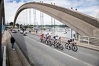 breakaway group crossing 1 of the many bridges in Britanny<br /> <br /> Stage 2 from Perros-Guirec to Mûr-de-Bretagne, Guerlédan (184km)<br /> 108th Tour de France 2021 (2.UWT)<br /> <br /> ©kramon