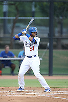 Hendrik Clementina (54) of the AZL Dodgers bats during a game against the AZL Diamondbacks at the Los Angeles Dodgers Spring Training Complex on July 3, 2015 in Glendale, Arizona. Diamondbacks defeated the Dodgers, 5-1. (Larry Goren/Four Seam Images)