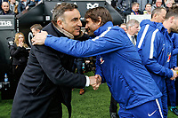Swansea manager Carlos Carvalhal greets Chelsea manager Antonio Conte during the Premier League game between Swansea City v Chelsea at the Liberty Stadium, Swansea, Wales, UK. Saturday 28 April 2018