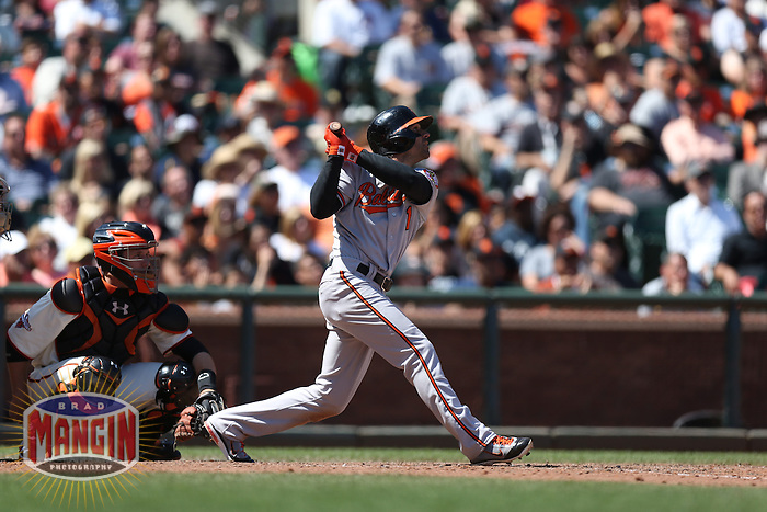 SAN FRANCISCO, CA - AUGUST 11:  Brian Roberts of the Baltimore Orioles bats during the game against the San Francisco Giants at AT&T Park on Sunday, August 11, 2013 in San Francisco, California. Photo by Brad Mangin