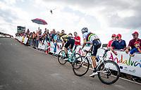 Primoz Roglic (SVK/Jumbo-Visma) & World Champion Alejandro Valverde (ESP/Movistar) fighting for places 5 & 6 in the race finale towards the finish (at almost 2000m alt.)<br /> <br /> Stage 5: L'Eliana to Observatorio Astrofísico de Javalambre (171km)<br /> La Vuelta 2019<br /> <br /> ©kramon