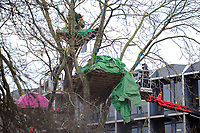 A protester is evicted from the site during a protest against the building of the HS2 railway line at Euston Square Gardens on 27th January 2021