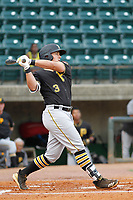 Bristol Pirates infielder Mason Martin (3) at bat during a game against the Greeneville Reds at Pioneer Field on June 20, 2018 in Greeneville, Tennessee. Bristol defeated Greeneville 11-0. (Robert Gurganus/Four Seam Images)