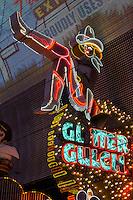 Las Vegas, Nevada.  Fremont Street.  Glitter Gulch Cowgirl Sign.
