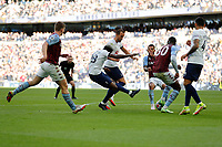 3rd October 2021; Tottenham Hotspur Stadium. Tottenham, London, England; Premier League football, Tottenham versus Aston Villa: Tanguy Ndombele of Tottenham Hotspur taking a shot