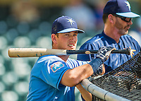 14 March 2016: Tampa Bay Rays infielder Casey Gillaspie, ranked the 9th Top Prospect in the Rays organization for 2016 by Baseball America and 8th by MLB, awaits his turn in the batting cage prior to a pre-season Spring Training game against the Atlanta Braves at Champion Stadium in the ESPN Wide World of Sports Complex in Kissimmee, Florida. The Ray fell to the Braves 5-0 in Grapefruit League play. Mandatory Credit: Ed Wolfstein Photo *** RAW (NEF) Image File Available ***