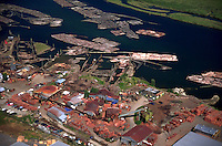 Aerial view of a Canadian lumber mill. Fraser Valley, British Columbia (BC), Canada.