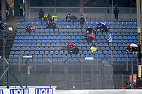 8th October 2020, Nuerburgring, Nuerburg, Germany; FIA Formula 1 Eifel Grand Prix Free Practise is cancelled due to heavy fog and lack of medical security services;  Fans sit dejected in the stands