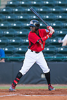 Michael De Leon (1) of the Hickory Crawdads at bat against the Savannah Sand Gnats at L.P. Frans Stadium on June 15, 2015 in Hickory, North Carolina.  The Crawdads defeated the Sand Gnats 4-1.  (Brian Westerholt/Four Seam Images)