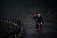 As the bunch is scattered all over the parcours (due to the horrible weather conditions) Julien Bernard (FRA/Trek-Segafredo) & Tiago Machado (POR/Katusha-Alpecin) breefly form their own duo-peloton.<br /> <br /> 76th Paris-Nice 2018<br /> Stage 8: Nice > Nice (110km)