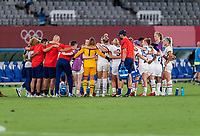 TOKYO, JAPAN - JULY 21: The USWNT huddles after a game between Sweden and USWNT at Tokyo Stadium on July 21, 2021 in Tokyo, Japan.