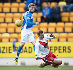 St Johnstone v Kilmarnock…25.02.17     SPFL    McDiarmid Park<br />David Wotherspoon's shot is blocked by Scott Boyd<br />Picture by Graeme Hart.<br />Copyright Perthshire Picture Agency<br />Tel: 01738 623350  Mobile: 07990 594431