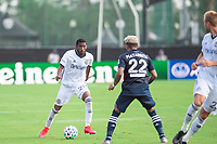 LAKE BUENA VISTA, FL - JULY 9: Raymon Gaddis #28 of the Philadelphia Union dribbles the ball during a game between New York City FC and Philadelphia Union at Wide World of Sports on July 9, 2020 in Lake Buena Vista, Florida.