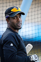 Willy Taveras of the Colorado Rockies during batting practice before a game against the Los Angeles Dodgers in a 2007 MLB season game at Dodger Stadium in Los Angeles, California. (Larry Goren/Four Seam Images)