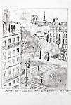 Paris, view from, Hotel de la Faculte, Joel Rogers, Journal Art 2002, ink and charcoal on paper, Journal Art,