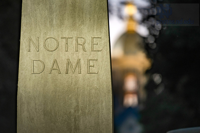 June 14, 2020; Pedestal of the statue in the main circle (Photo by Matt Cashore/University of Notre Dame)