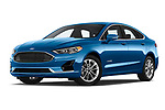 Stock pictures of low aggressive front three quarter view of 2019 Ford Fusion-Hybrid SEL 4 Door Sedan Low Aggressive