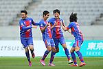 (L to R) <br /> Yohei Kajiyama, <br /> Yoshinori Muto, <br /> Hideto Takahashi, <br /> Naohiro Ishikawa (FC Tokyo), <br /> APRIL 18, 2015 - Football /Soccer : <br /> 2015 J1 League 1st stage match <br /> between F.C. Tokyo 1-2 Sanfrecce Hiroshima <br /> at Ajinomoto Stadium, Tokyo, Japan. <br /> (Photo by YUTAKA/AFLO SPORT) [1040]