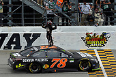 Monster Energy NASCAR Cup Series<br /> Tales of the Turtles 400<br /> Chicagoland Speedway, Joliet, IL USA<br /> Sunday 17 September 2017<br /> Martin Truex Jr, Furniture Row Racing, Furniture Row/Denver Mattress Toyota Camry celebrates his win <br /> World Copyright: Logan Whitton<br /> LAT Images