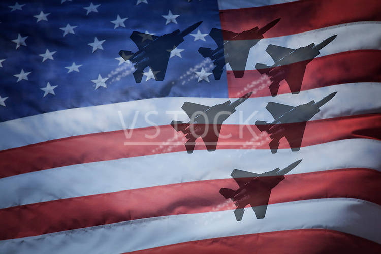 Close-up of American flag with silhouettes of F-16 airplanes